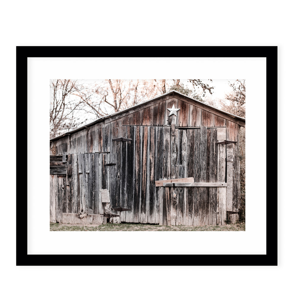 LONE STAR BARN Framed Giclee Print With Mat By Ann Hudec