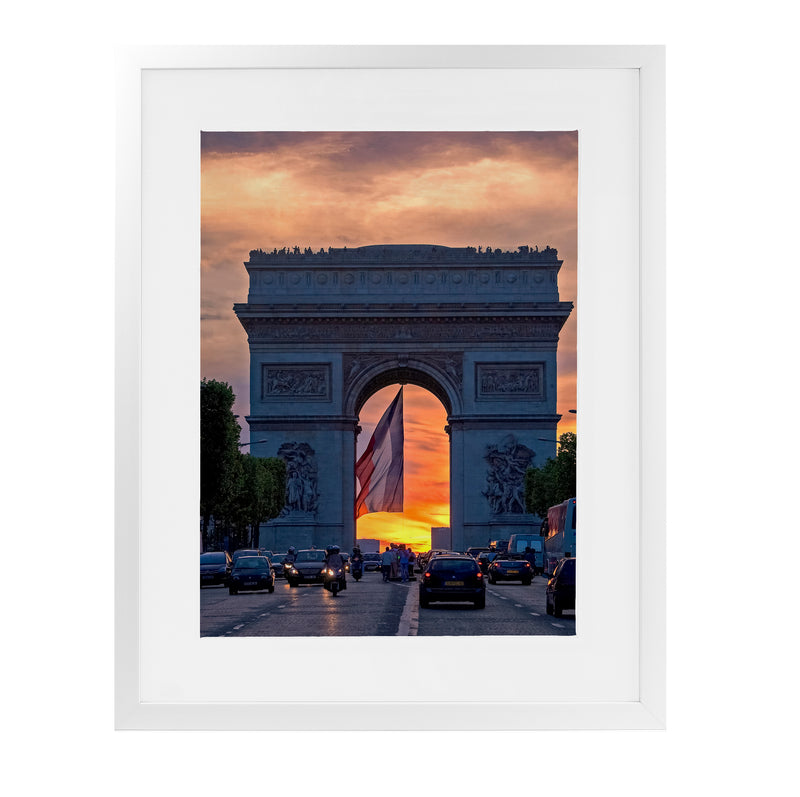 ARC DE TRIOMPHE SUNSET Framed Giclee Print With Mat By David Phillips