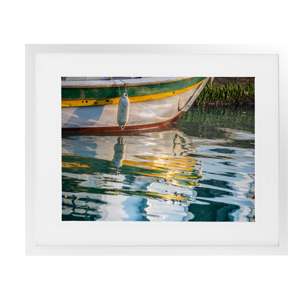 BOAT REFLECTIONS VENICE Framed Giclee Print With Mat By David Phillips