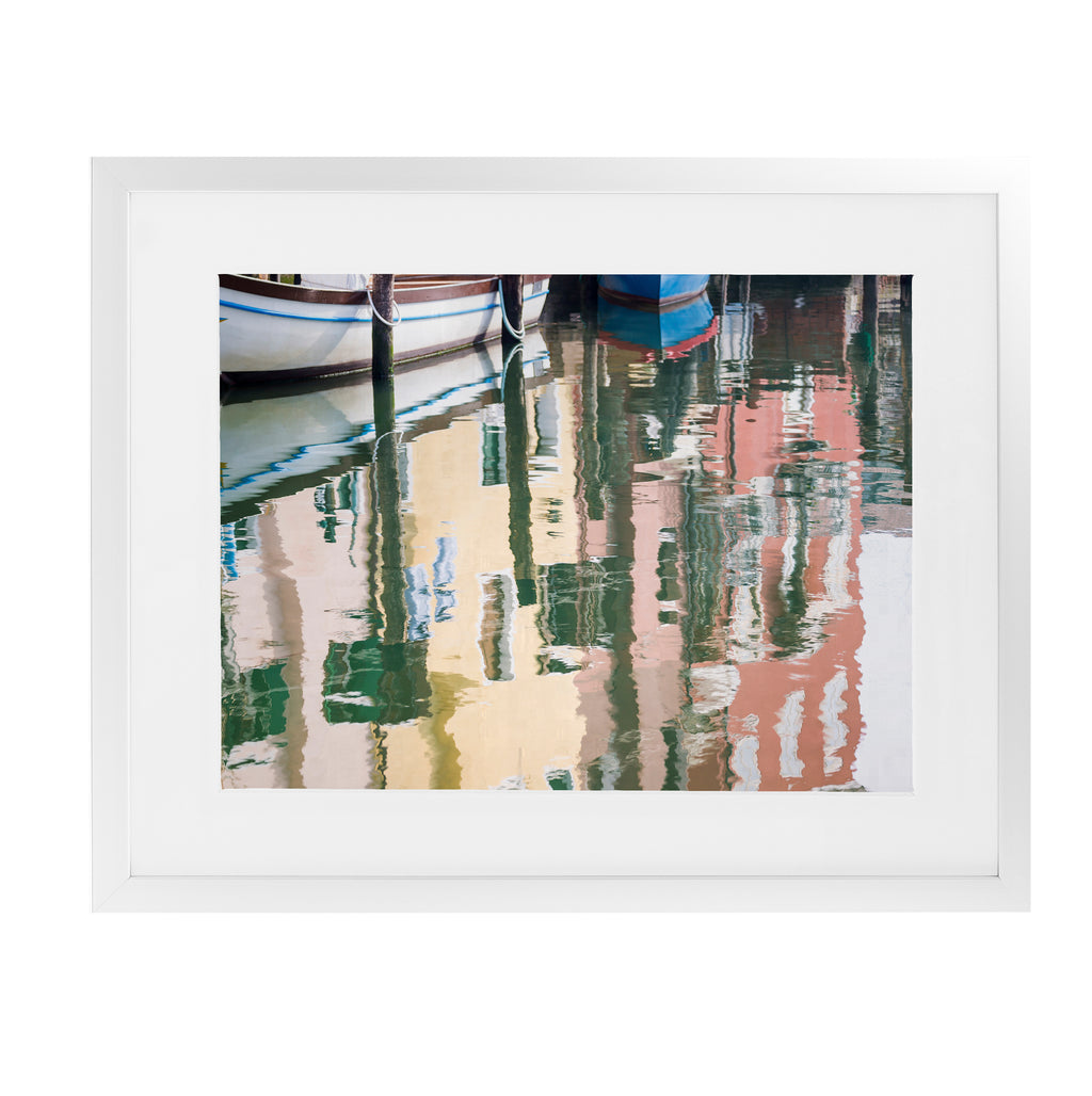 CHIOGGIA BOATS AND HOUSES REFLECTIONS Framed Giclee Print With Mat By David Phillips