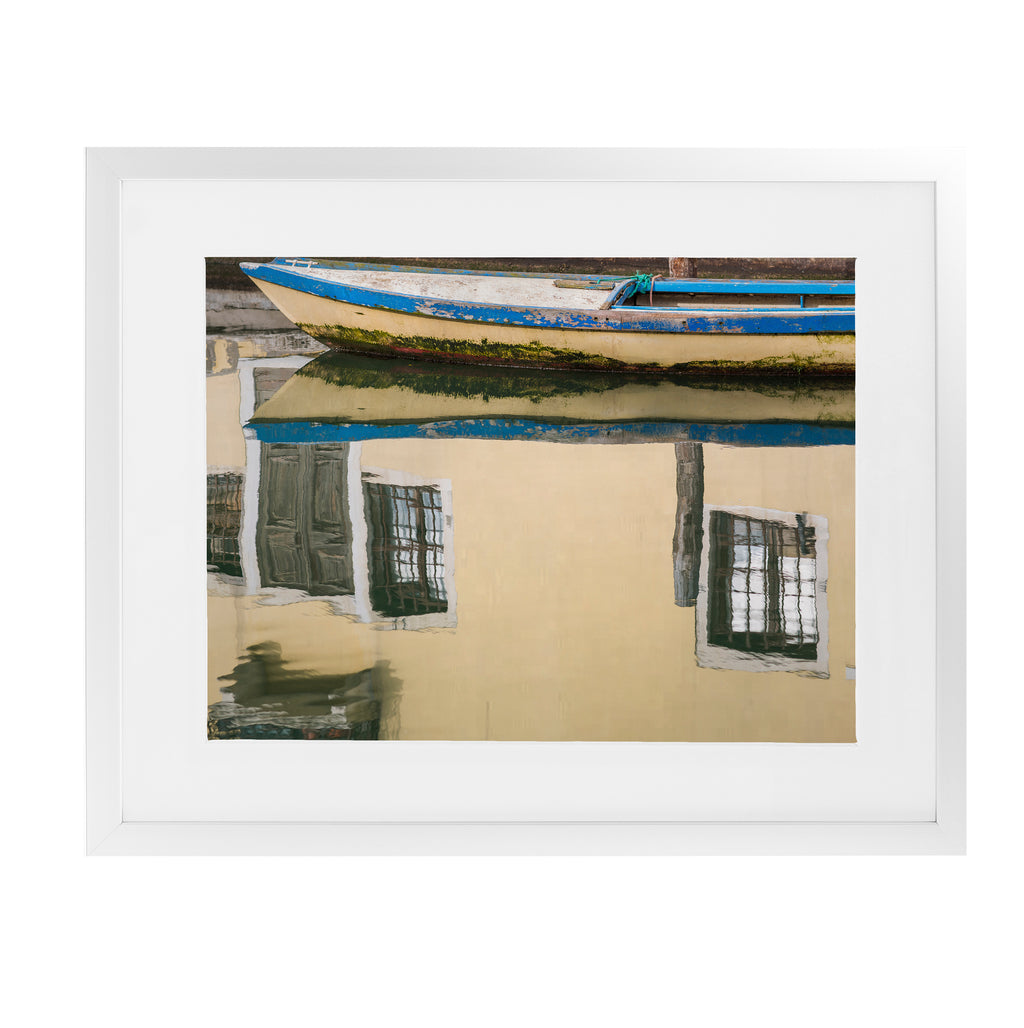 CHIOGGIA WOODEN BOAT REFLECTION Framed Giclee Print With Mat By David Phillips