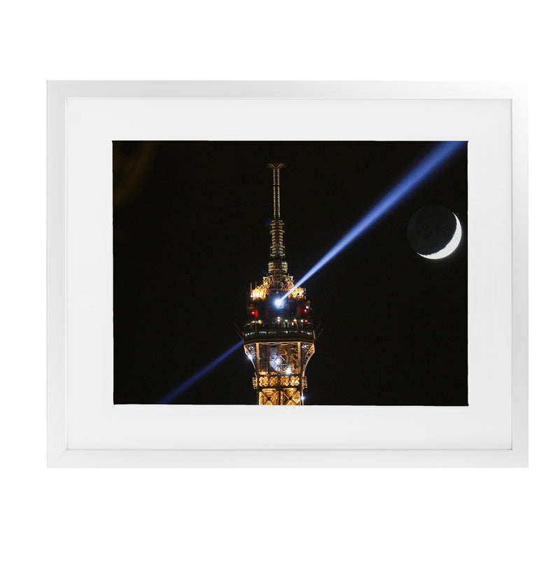 EIFFEL TOWER MOON Framed Giclee Print With Mat By David Phillips