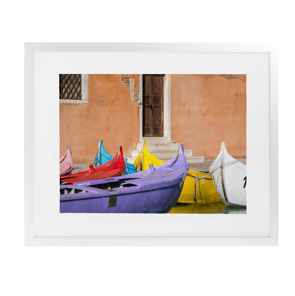 MULTICOLORED VENETIAN BOATS Framed Giclee Print With Mat By David Phillips