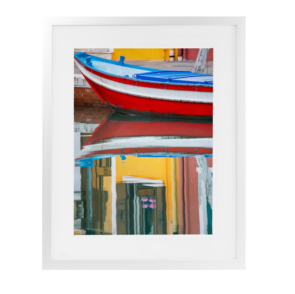 RED BOAT REFLECTION BURANO Framed Giclee Print With Mat By David Phillips