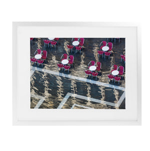 VENICE CAFE CHAIRS REFLECTIONS Framed Giclee Print With Mat By David Phillips