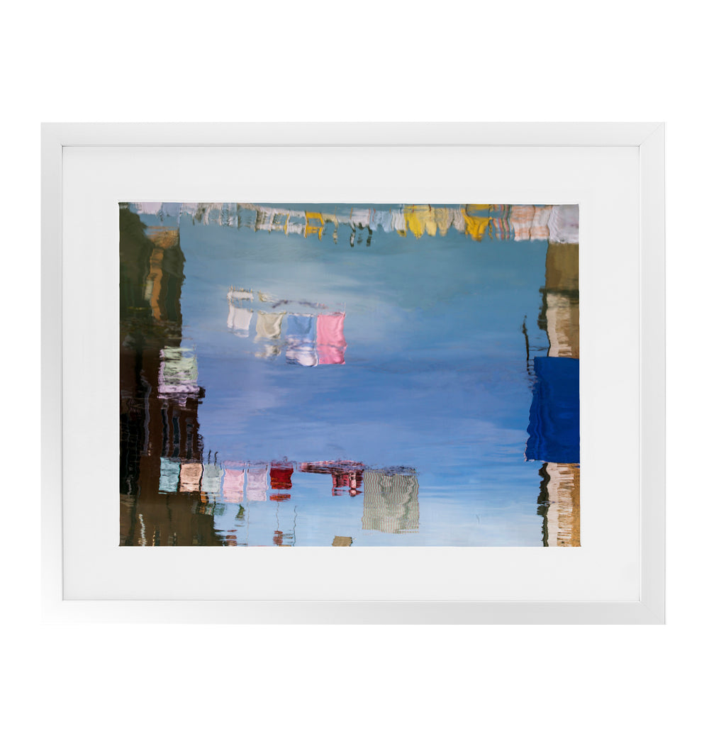 VENICE COLORFUL CLOTHESLINE REFLECTIONS  Framed Giclee Print With Mat By David Phillips