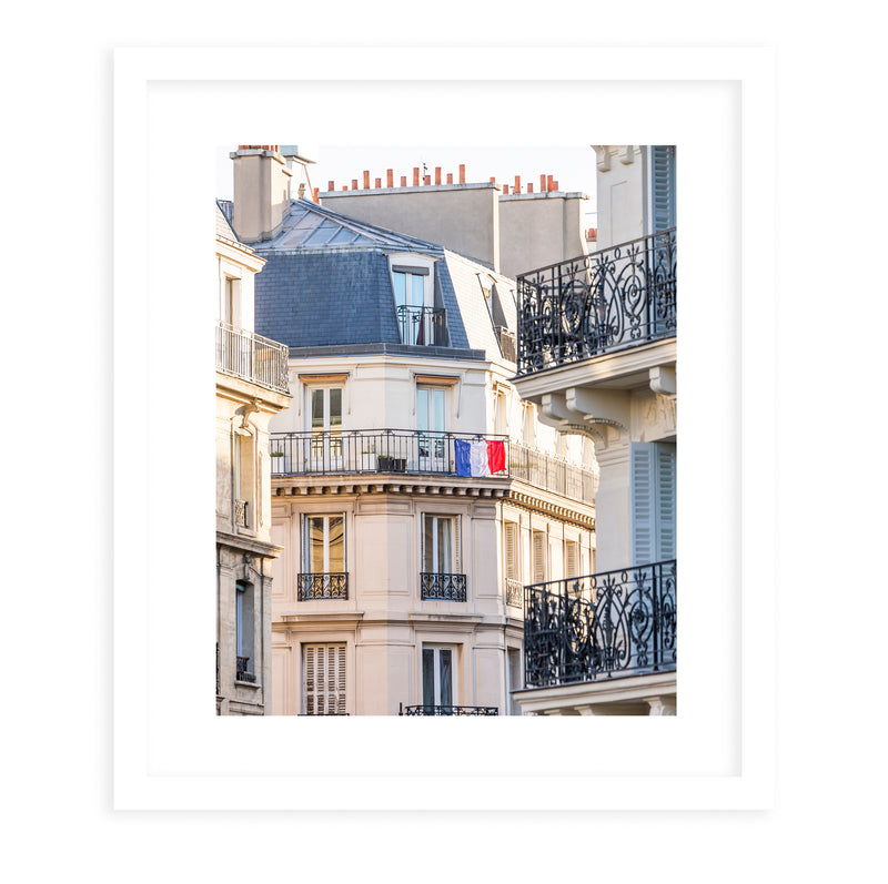 FRENCH BALCONY FLAG Framed Giclee Print With Mat By David Phillips
