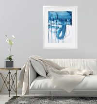 BLUE ABSTRACT FIVE Framed Giclee Print With Mat By Jolina Anthony