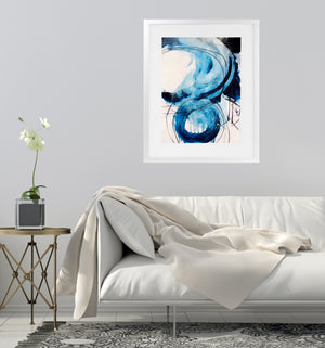 BLUE ABSTRACT ONE Framed Giclee Print With Mat By Jolina Anthony