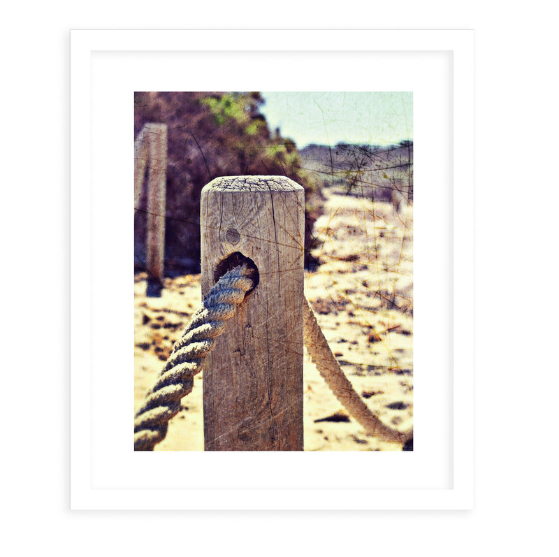 BEACH POST Framed Giclee Print With Mat By Jolina Anthony