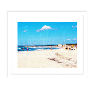 BEACH SCENE VINTAGE Framed Giclee Print With Mat By Jolina Anthony