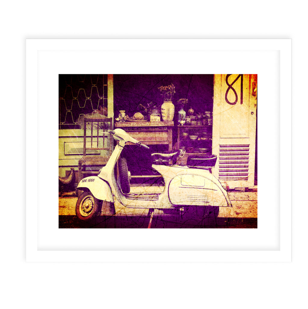 PALMA THREE SCOOTER Framed Giclee Print With Mat By Jolina Anthony