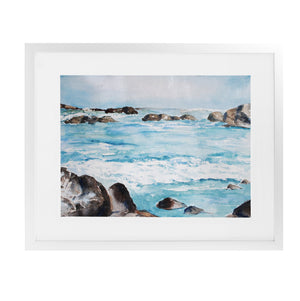ROCKY WAVES Framed Giclee Print With Mat By Jayne Conte