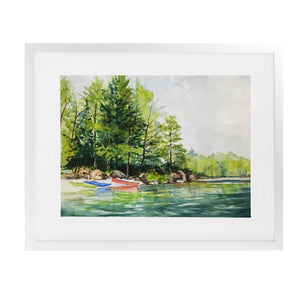 KAYAK LAUNCH Framed Giclee Print With Mat By Jayne Conte