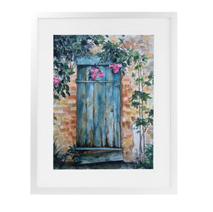 WOOD DOOR Framed Giclee Print With Mat By Jayne Conte