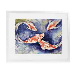 KOI Framed Giclee Print With Mat By Jayne Conte