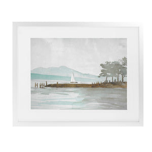 SAIL BOAT Framed Giclee Print With Mat By Jayne Conte