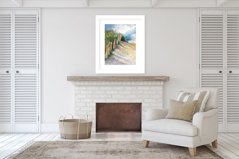 BEACH FENCE Framed Giclee Print With Mat By Jayne Conte