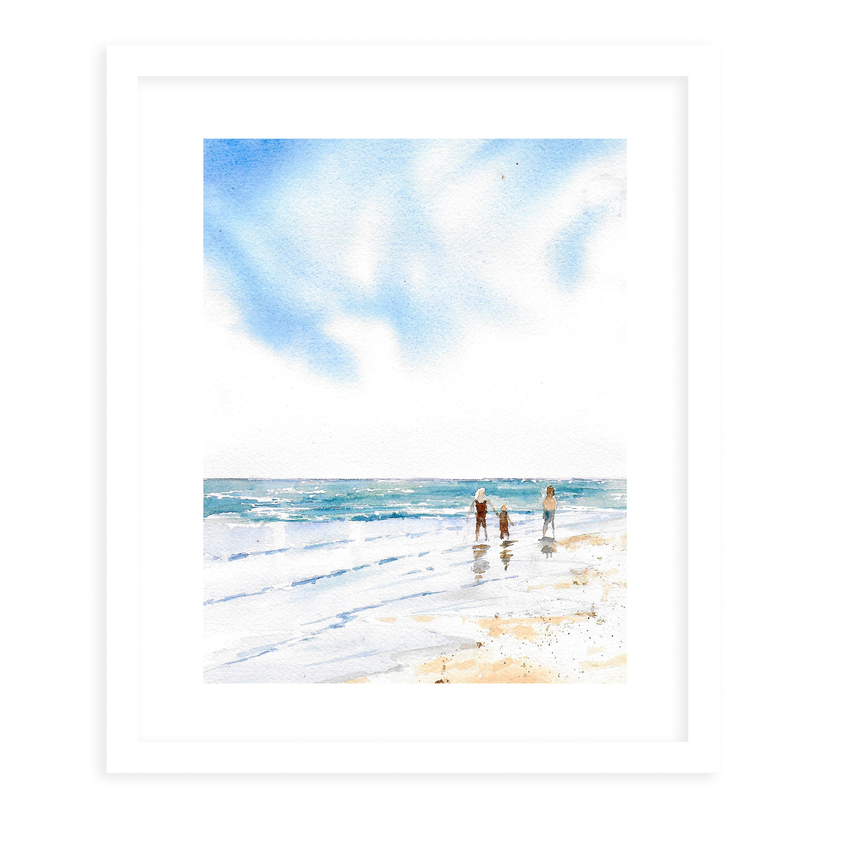 BEACH WALK Framed Giclee Print With Mat By Jayne Conte