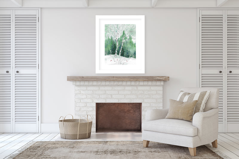BIRCH TREES Framed Giclee Print With Mat By Jayne Conte