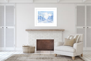 BLUE ROAD Framed Giclee Print With Mat By Jayne Conte