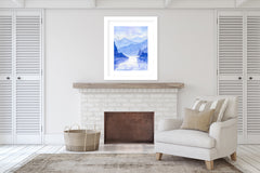 BLUE VALLEY Framed Giclee Print With Mat By Jayne Conte