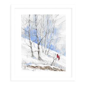CARDINAL IN WINTER TREES Framed Giclee Print With Mat By Jayne Conte