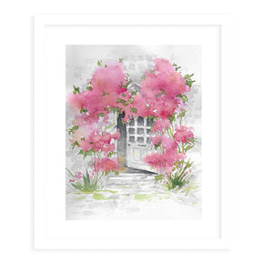 DOORWAY WITH FLOWERS Framed Giclee Print With Mat By Jayne Conte