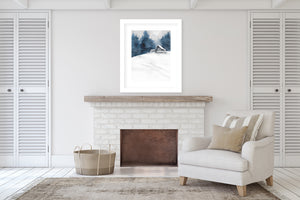 GREY BARN IN SNOW Framed Giclee Print With Mat By Jayne Conte