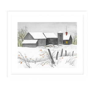 GREY BARNS IN SNOW Framed Giclee Print With Mat By Jayne Conte