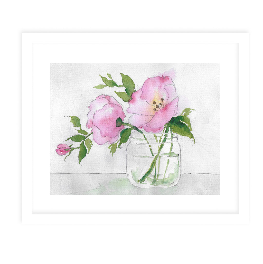 PINK FLOWER IN JAR Framed Giclee Print With Mat By Jayne Conte