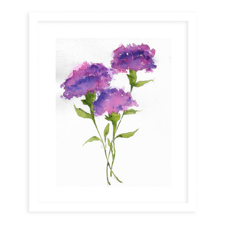 PURPLE CARNATIONS Framed Giclee Print With Mat By Jayne Conte