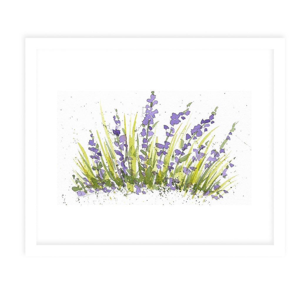 PURPLE FLOWERS Framed Giclee Print With Mat By Jayne Conte
