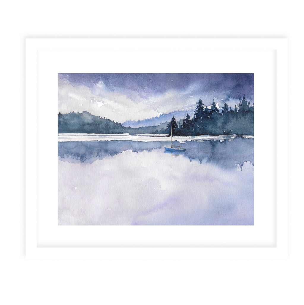 PURPLE SKYS Framed Giclee Print With Mat By Jayne Conte