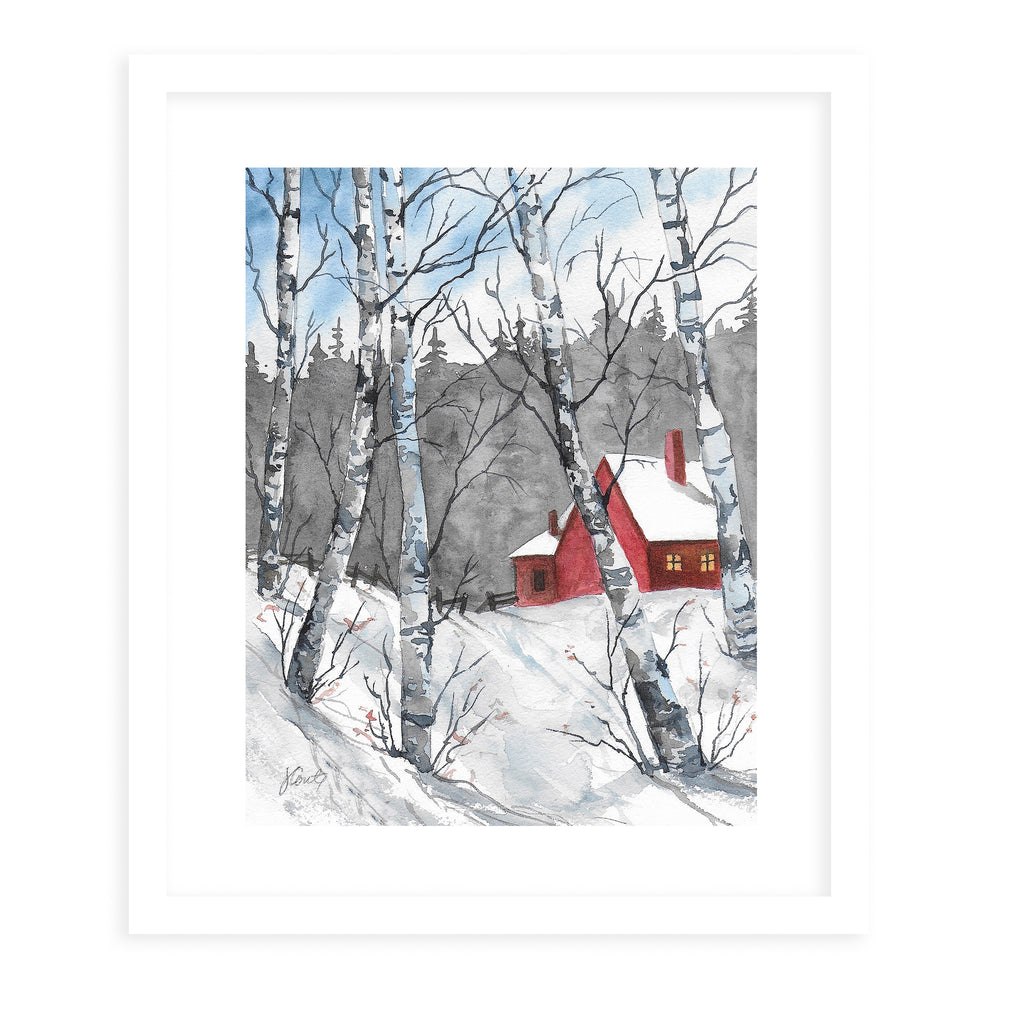 RED BARN IN SNOW Framed Giclee Print With Mat By Jayne Conte