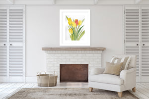 YELLOW TULIPS Framed Giclee Print With Mat By Jayne Conte