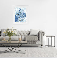 MARBLED BLUE  Framed Giclee Print with Mat By Marina Gutierrez
