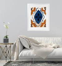 MOROCCAN BLUE TILE Framed Giclee Print With Mat By Terri Ellis