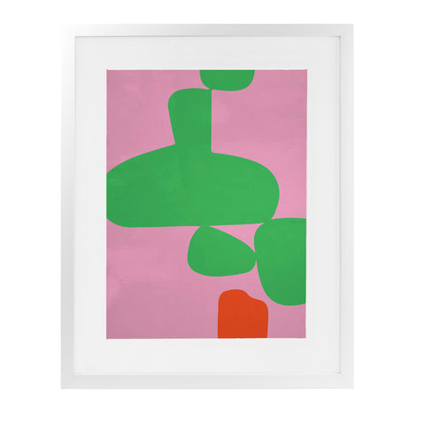ANGENAULT PINK VS GREEN Framed Giclee Print With Mat By Villa Capri
