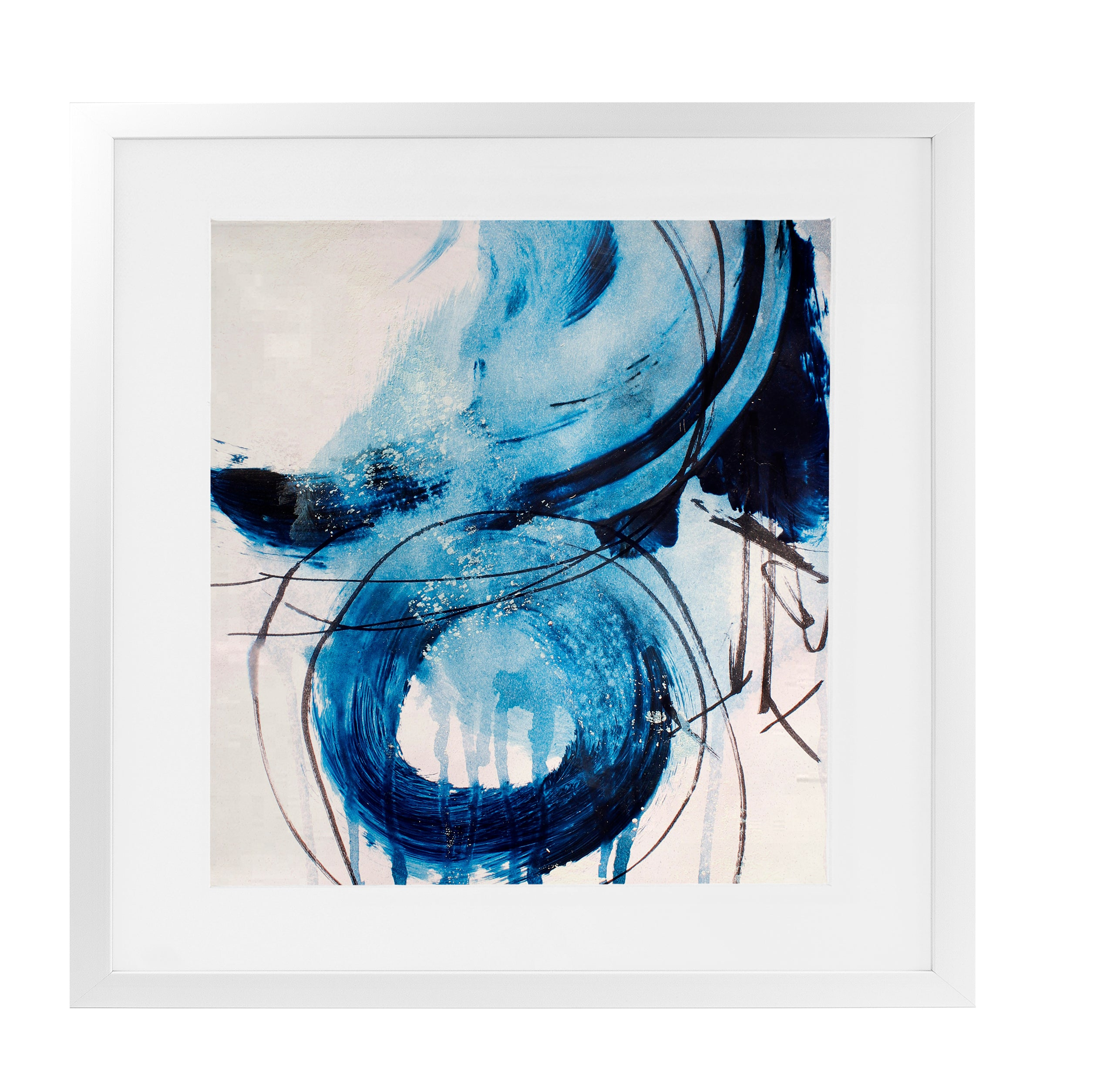 SQUARE BLUE ABSTRACT SET ONE Framed Giclee Print With Mat By Jolina Anthony