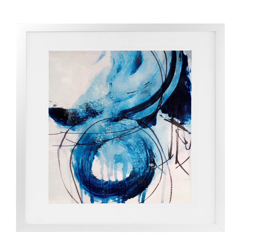 BLUE ABSTRACT SET ONE Framed Giclee Print With Mat By Jolina Anthony