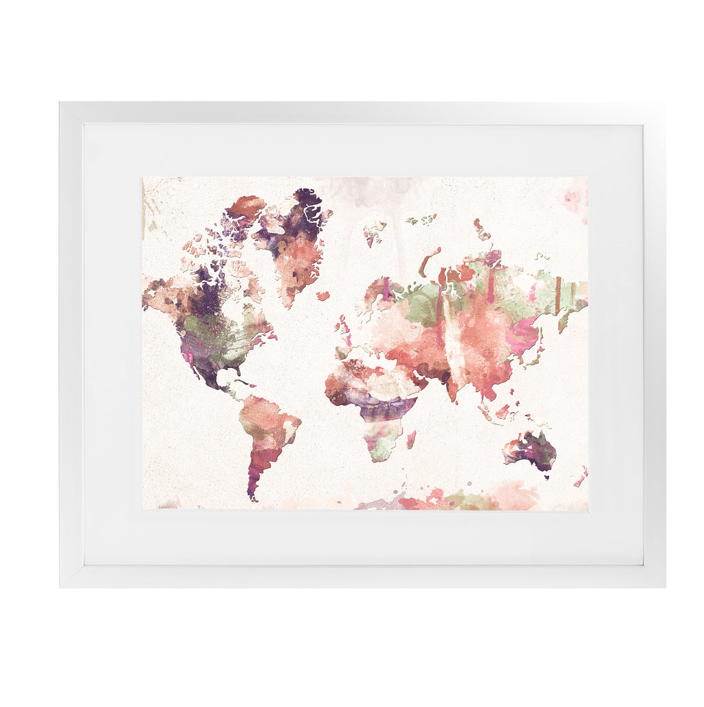 OLD MEMORIES WORLD MAP Framed Giclee Print With Mat By Zaira Dzhaubaeva