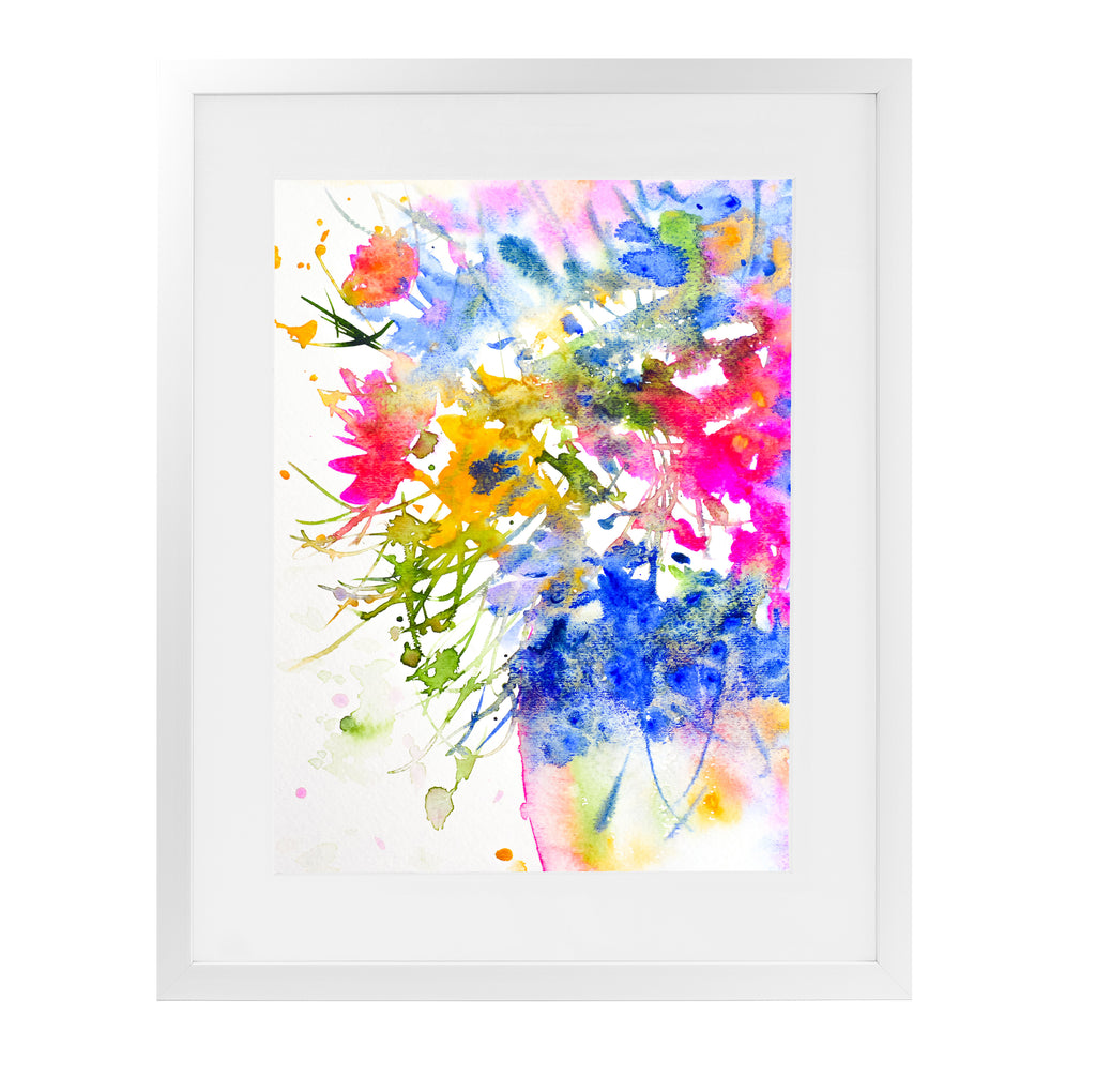 SUMMER FLOWERS IN THE VASE Framed Giclee Print With Mat By Zaira Dzhaubaeva
