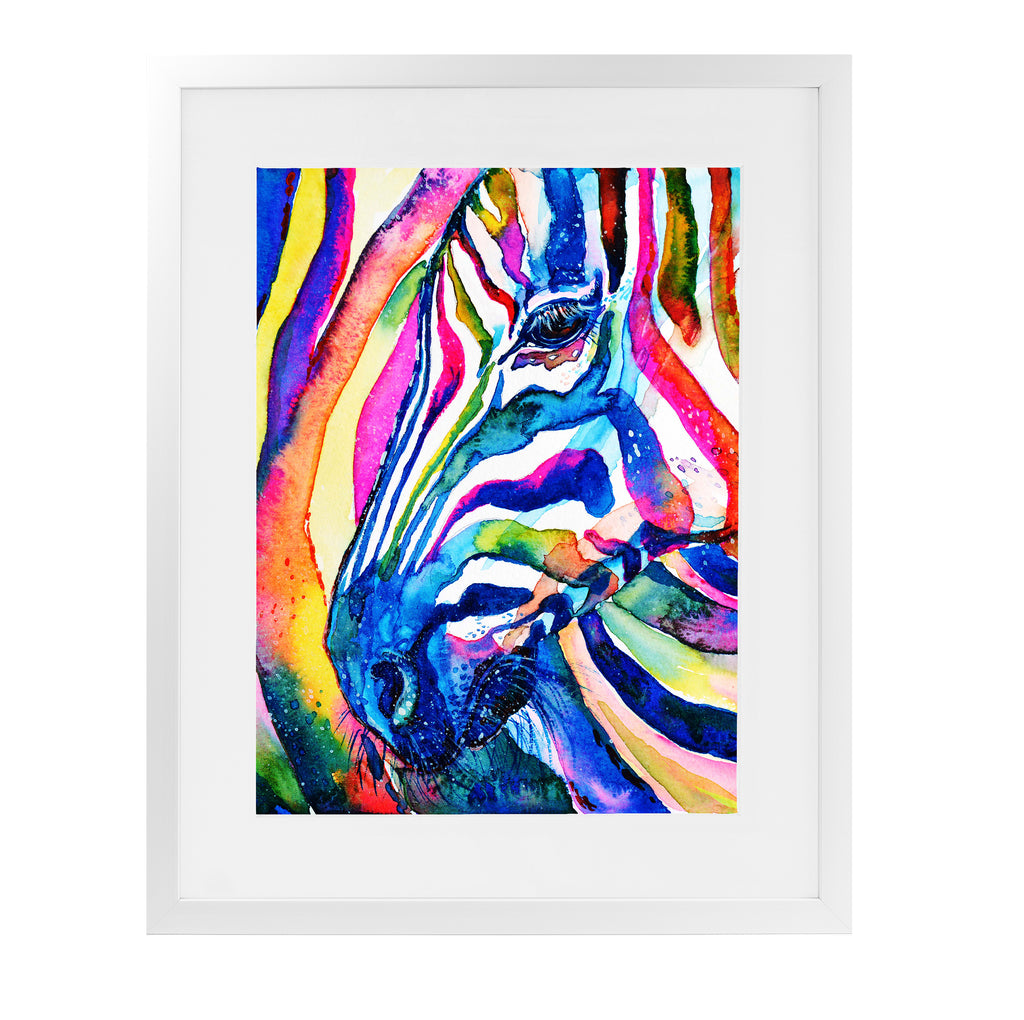 ZEBRA Framed Giclee Print With Mat By Zaira Dzhaubaeva