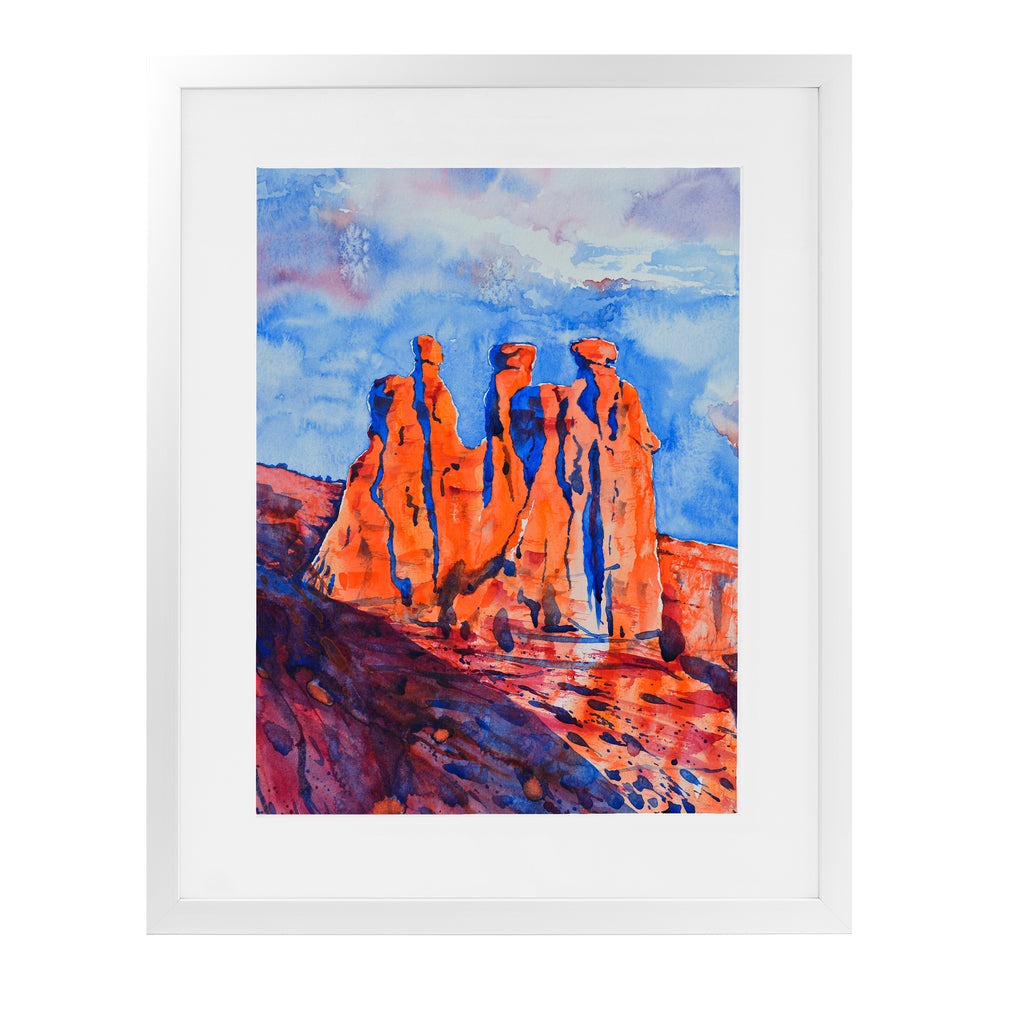 THE THREE GOSSIPS Framed Giclee Print With Mat By Zaira Dzhaubaeva