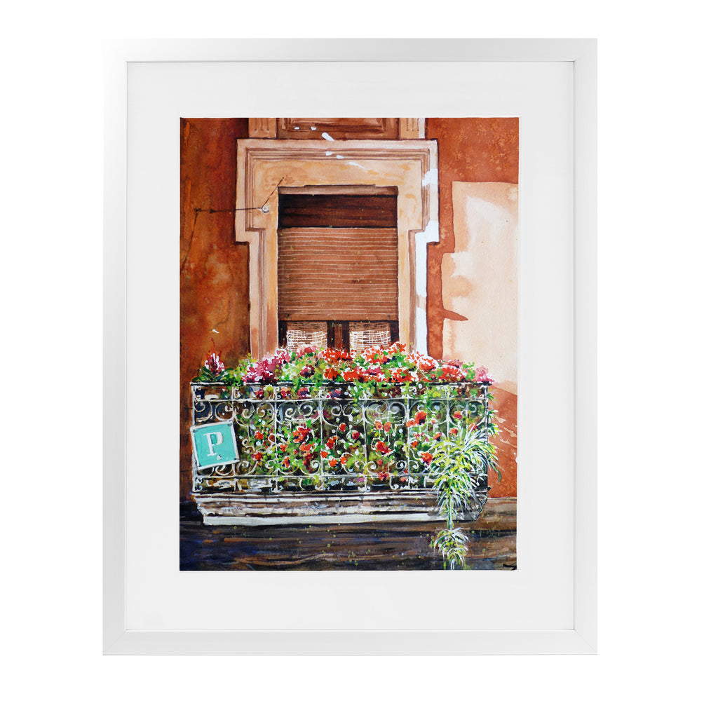 HOSTEL BALCONY IN BILBAO Framed Giclee Print With Mat By Zaira Dzhaubaeva