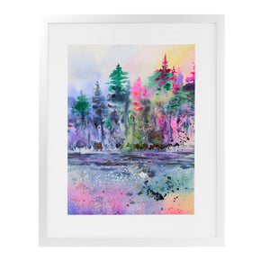 COLORFUL FOREST Framed Giclee Print With Mat By Zaira Dzhaubaeva