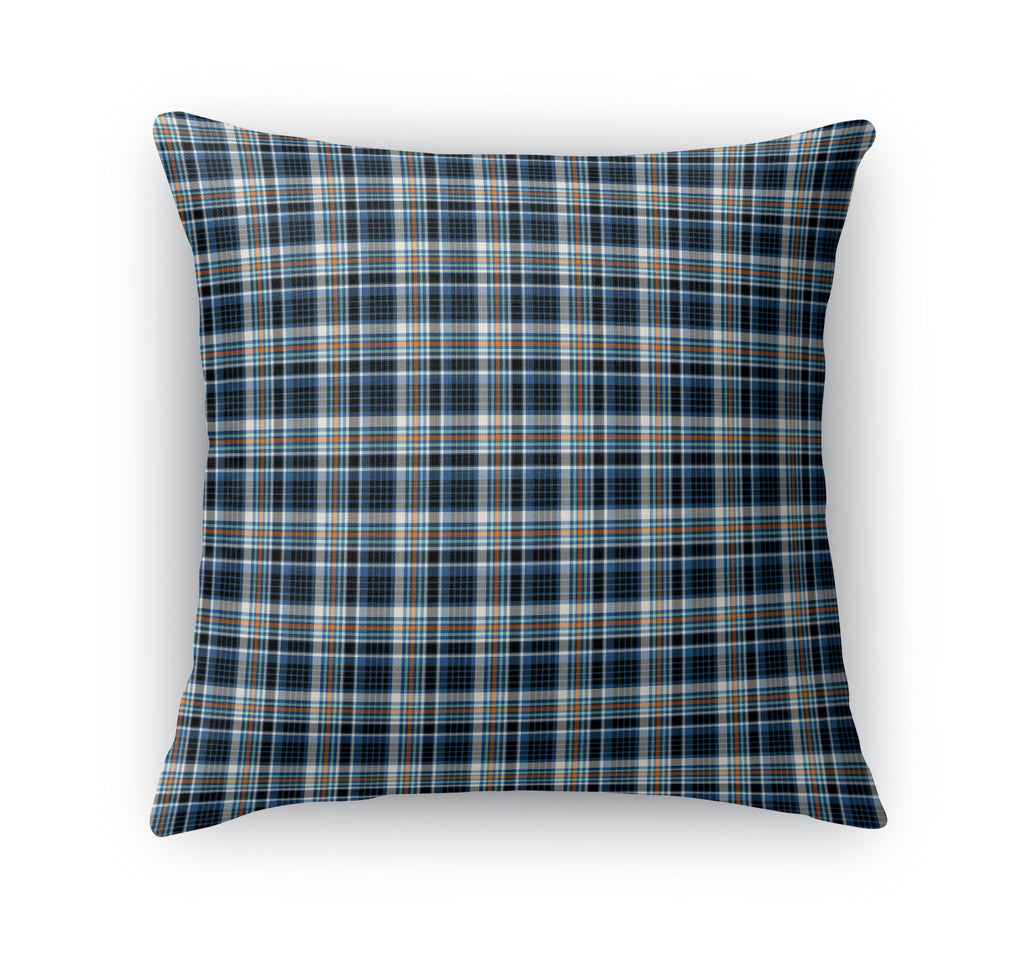 BLUE AND BLACK FALL PLAID  Accent Pillow By Northern Whimsy