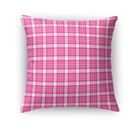 PINK AND WHITE GIRLS PLAID  Accent Pillow By Northern Whimsy