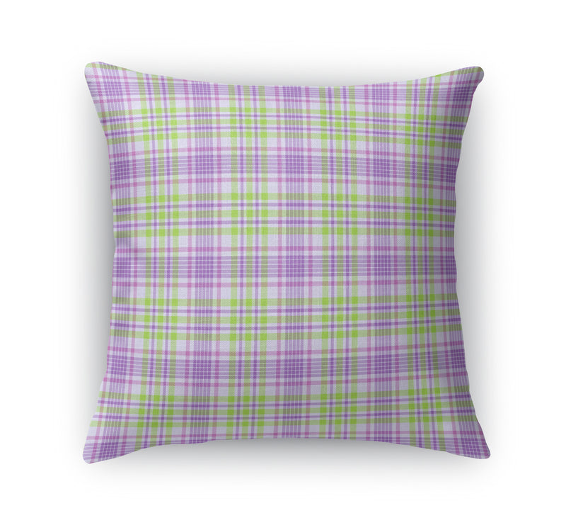 LAVENDER AND GREEN SKINNY PLAID  Accent Pillow By Northern Whimsy